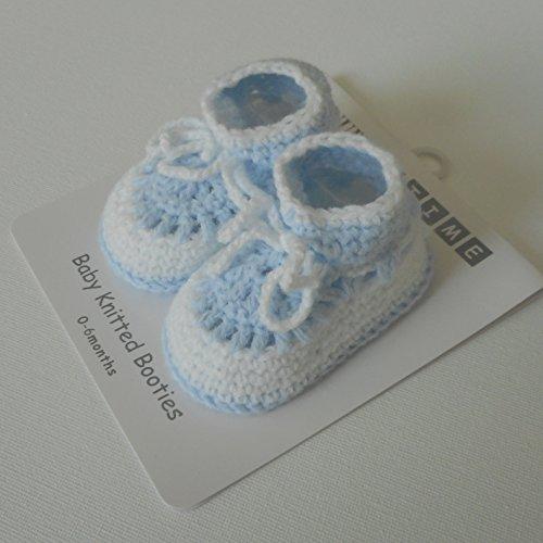 Schuhe/Hausschuhe für Babys, Neugeborene, gestrickt, Blau/Weiß