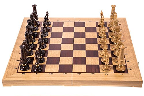 Square - Ajedrez de Madera Royal Lux - Roble - 65 x 65 cm - Piezas de ajedrez - Talladas
