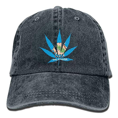 uykjuykj Oklahoma State Flag Weed Marijuana Dad Hat Baseball Cap Trucker Cap Washed Denim Cotton Black Adjustable Unique Personality Cap Baseballmütze