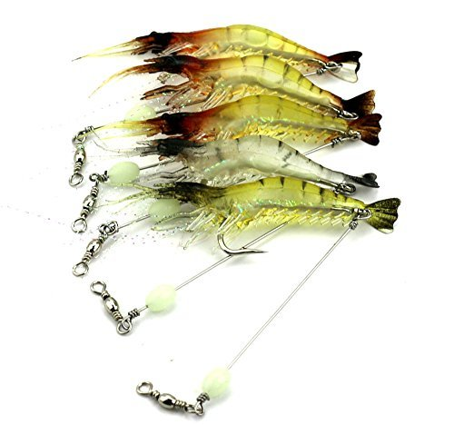 LENPABY 6 stücke leuchtende garnelen weichen hecht AngelKöder wobble bass fischerei Köder pesca Angelgeräte 7.5cm 6.6g -