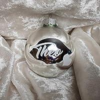 Christbaumkugel mit Namen Silber glänzend Glas
