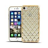 HULI Diamond Case Hülle Gold für Apple iPhone 7/8 Smartphone - Diamant Handyhülle aus TPU Silikon - Luxus Schutzhülle - sicherer Schutz Wabe Kaleidoskop golden