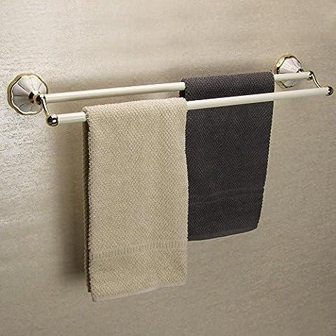 Khskx Euro Jardin de salle de bain Serviette Rack, EN CÉRAMIQUE en alliage de zinc Tige, torréfié Blanc Porte-serviette simple Peinture