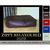 Zippy Faux Leather Bean Bag Pet Dog Bed - Extra Large - Black Beanbag