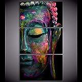 Shisky Tableau Decoration Murale Salon Moderne,Art Mural pour Salon(3) Chan Yi Bouddha Cross Peinture décorative, Base Dessin décoratif de Salon Chambre à Coucher (sans Bordure)