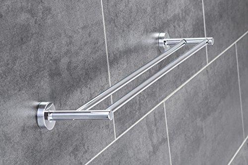 Doppel-Handtuchhalter Chrom Wand-Handtuchstange 60 cm Bad - Modell BK-08 | Design Badetuchhalter Chrom poliert | Länge 600 mm | Möbelbeschläge von GedoTec®