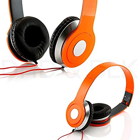 HeadGear 3.5mm Foldable Headphone Headset for Dj Headphone Mp3 M Pc Tablet Music Video and All Other Music Players (Orange)