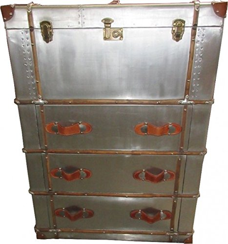 Art Deco Sideboard (Casa Padrino Art Deco Vintage Koffer Schrank Kommode Aluminium/Leder - Vintage Look Flieger Kommode)