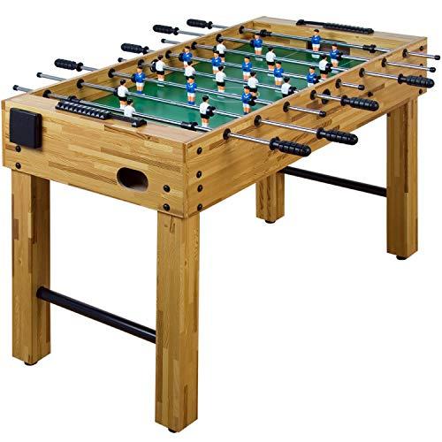 """Maxstore Tischfussball """"Glasgow"""", 4 Dekore: Holz/Schwarz / Blau/Soccer, inkl. 2 Bälle, 2 Getränkehalter, höhenverstellbare Füße, hochgezogene Spielfeldecken, Tischkicker, Kicker, Kickertisch"""