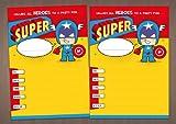 20 Childrens birthday party invitations - Mixed Superhero costumes