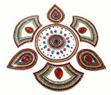 Handcrafted Decorative Rangoli set – Jewel Stone/ Kundan Decorations on OHP Base – 7 piece set - for Home Décor