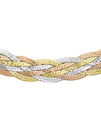 Carissima Gold Women's 9 ct Three Colour Five Plait Herringbone Chain Necklace of Length 46 cm