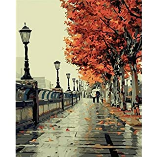 Diy oil painting, paint by number kit- Romantic love autumn 16*20 inch. by Colour Talk