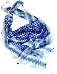 Tactical Shemagh Military Style Shermag Head Scarf Patrol Keffiyeh White & Blue
