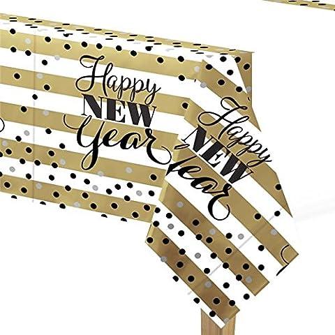 erdbeerloft - Silvesterdeko- Tischdecke Happy New Year 137 x 259 cm, Mehrfarbig