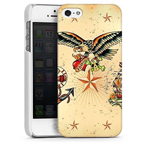 Apple iPhone 4 Housse Étui Silicone Coque Protection Bateau Ancre Tatouage CasDur blanc