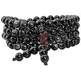 Shanxing 108 Perlen Edelstein Yoga Armband Schmuck Buddha Buddhistische Tibetische Gebetskette Mala Kette Halskette,Regenbogen Obsidian