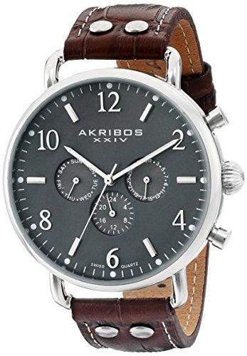 Akribos XXIV da uomo con Display analogico AK752SSBR-Orologio svizzero al quarzo, colore: marrone