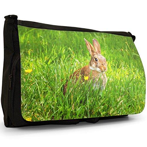 Coniglio grande borsa a tracolla Messenger Tela Nera, scuola/Borsa Per Laptop Rabbit Hiding In Grass