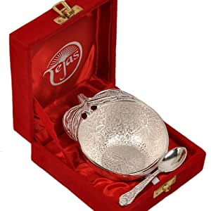 Little India Silver Polished Apple Shape Brass Bowl n Spoon 272 by Little India