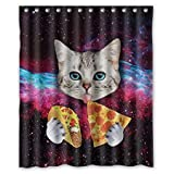 Violetpos Nebelfleck-Universum-Katze essen Pizza Duschvorhang Badezimmer Dekorative 120 x 180 cm
