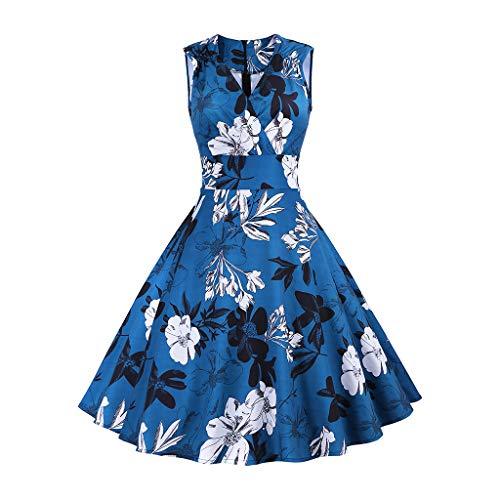 Momoxi Kleid,Damen Frauen Vintage Floral Sping Retro Rockabilly Cocktailkleid