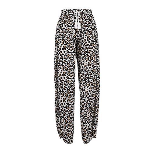 MOTOCO Damen - Lose Hose mit weitem Bein und Leopardenmuster Lässiger Hosenrock mit geteiltem Elastikband(M(40),Weiß)