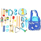 Dilwe 22 Pcs Musical Instruments Educational Toy Set With Carrying Bag For Kids Children Gift(Blue)