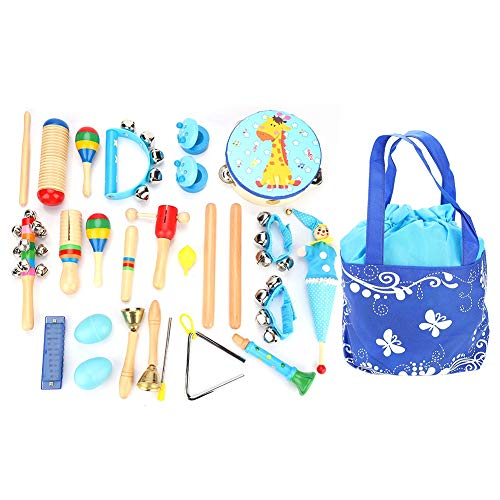 Dilwe Kinder Musikinstrumente Set, 22 PC Kinder Schlagzeug Schlagwerk Rhythmus Spielzeuge mit Triangel Trompete mit EIN Beutel leicht zum Aufbewahrung Gute Geburtstag Geschenke(Blau)