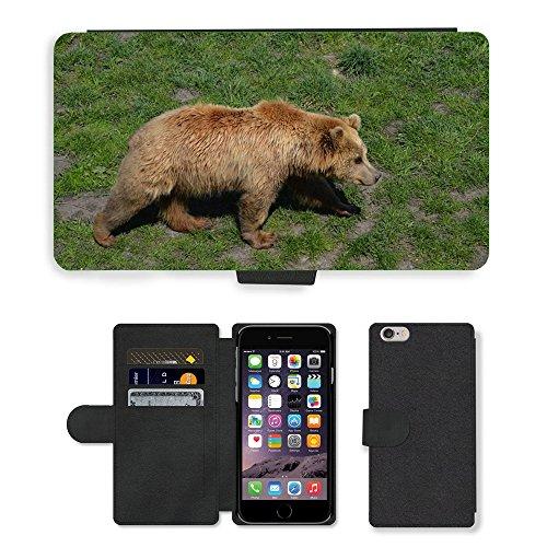 Just Mobile pour Hot Style Téléphone portable étui portefeuille en cuir PU avec fente pour carte//m00139056Ours Ours Brun en fourrure animal World//Apple iPhone 6Plus 14cm