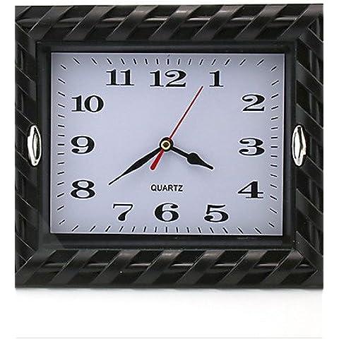 JIA&YOU Quadrato Moderno/Contemporaneo Orologio da parete,Vacanza Plastica 22*18*5 cm (8.66*7.09*1.97 inch) , black