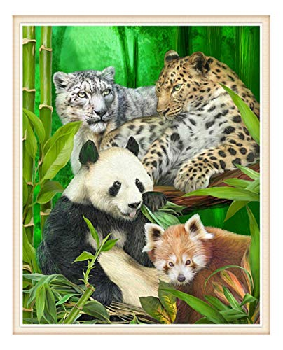 DIY Panda Snow Leopard Tier Hause 5D Diamant Malerei Kreuzstich Muster Wandaufkleber Set Mosaik Stickerei Malerei 30 * 40 cm, A