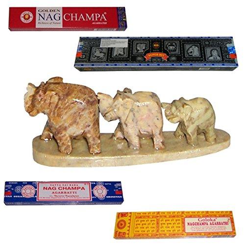 Speckstein Duft (Räucherstäbchen mit Halter Speckstein Elefantenreihe 4 Schachteln Nag Champa Duft Wohnaccessoire Raumduft Deko)