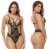 Sling Jumpsuit_European And American Sexy Underwear Lace Triangle Tuta Nera M