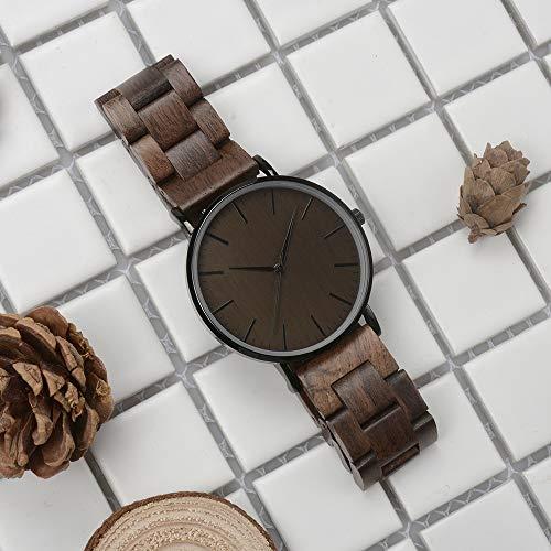 Holzuhr Herren Damen Unisex Holz-Armbanduhr mit Legiertem Uhrengehäuse und Holzarmband (Walnuss) - 5