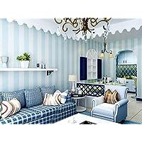 Cómodo dormitorio papel pintado no tejido azul blanco rayas papel pintado pared características modernas rayas verticales papel pintado rollo decoración 10 * 0.53m