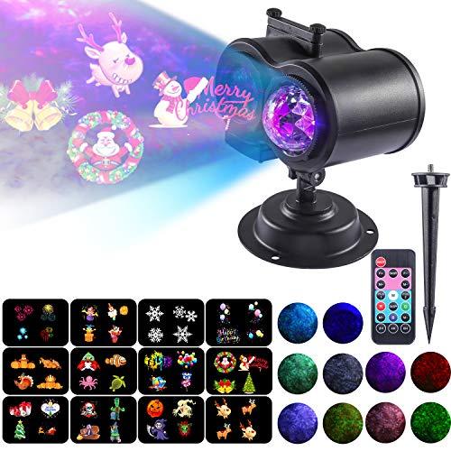 Weihnachten Projektionslampe,2 in 1 LED Effektlicht Wellenkräuselsicht mit 12 Muster 10 Farben für Outdoor Garten Dekor