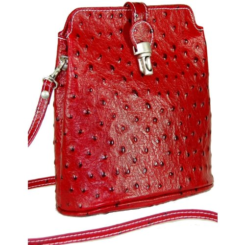 DELARA Schultertasche Leder, Farbe: braun dunkelrot