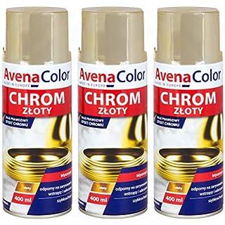3 x Avena Color Gold Chrom Effektlack glänzend 400 ml Sprühdose Dose Farbe