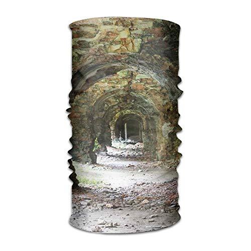 KAKICSA Woman Men's Turban Ruins of Arched Medieval Period Brick Tunnel Architecture Heritage Campus Kerchief Red Brick Pizza