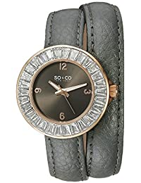 So & Co 5070.4 New York SoHo Women's Quartz Watch with Grey Dial Analogue Display and Grey Leather Strap