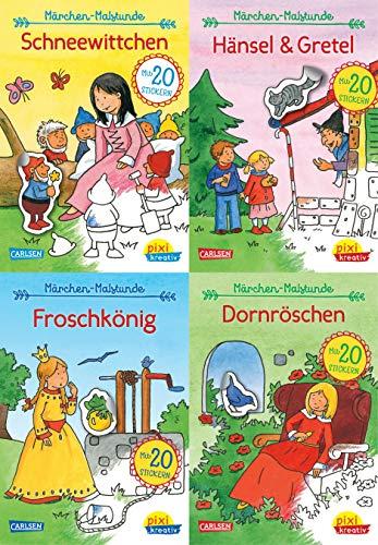 Pixi kreativ 4er-Set 19: Meine Märchen-Malstunde mit Stickern (4x1 Exemplar): Schneewittchen, Rapunzel, Hänsel und Gretel, Dornröschen (Schneewittchen Und Rapunzel)