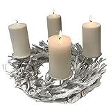 Adventskranz Holz rund Ø37cm Weiß Advent Kerzenständer mit Dorn Weihnachtsdeko Wurzelholz Weihnachten Kranz Handarbeit