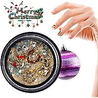 Calcomanías de uñas con diamantes de imitación 3D, calcomanías de manicura de mezcla de lentejuelas de aleación.