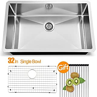 VAPSINT Modern Commercial 32 Inch 18 Gauge Undermount Stainless Steel Single Bowl Kitchen Sinks,Brushed Nickel Kitchen Sinks with Dish Grid and Basket Strainer