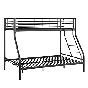 Triple Bunk Bed Metal Frame Children / Kid / Adult / Sleeper Double Bed Base and Single on Top Bedroom Furniture Black New