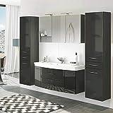 Lomadox Badezimmer Set in Hochglanz grau ● 120cm Waschtisch mit 2 Schubkästen & 2 Türen inkl. Waschbecken ● Spiegelschrank mit 2 LED-Leuchten & Steckdose ● 2 Hochschränke mit 2 Türen & Schubkasten