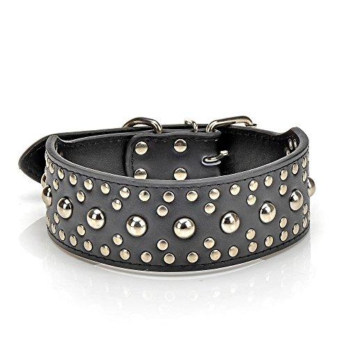Dogs Kingdom 45,7–61cm Leder rund Nieten Große Hunde Halsband 3Größe Pet Halsband Schwarz (Nieten-leder Klassische)