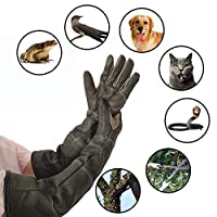 BIGBIGWORLD Pet Handling Gloves, Protective Strengthened Leather Anti Bite Gloves for Cat Dog and Gardening Work