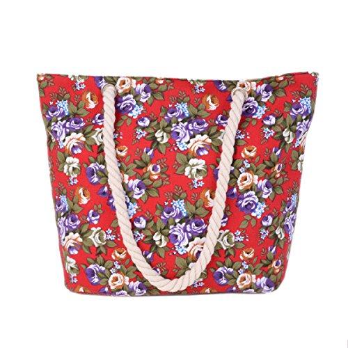 Signore Canvas Shoulder Bag Fashion Flowers Grande Capienza Beach Bag D